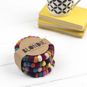Multicolour Felt Ball Coaster Gift Set - decoration