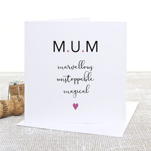 M.U.M Calligraphy Mother's Day Card - sentimental cards