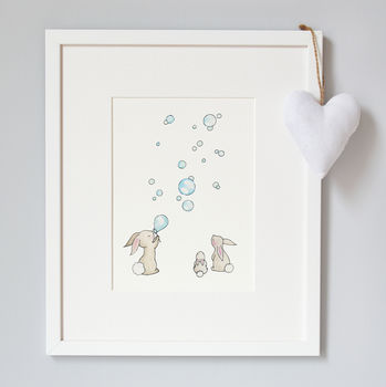 Bunnies And Bubbles Nursery Print