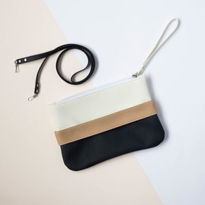 Black And White Vegan Leather Clutch Bag