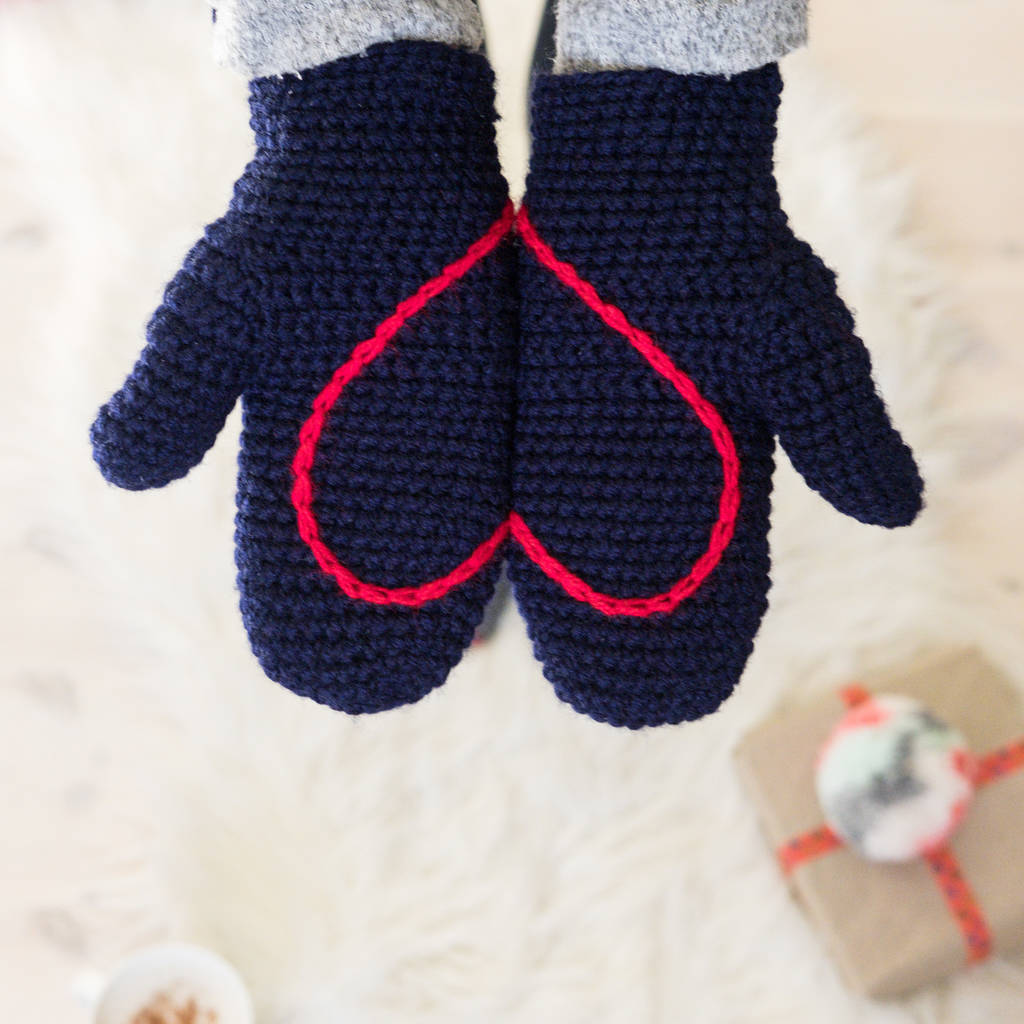 Hidden Heart Crochet Mittens By Eka Notonthehighstreet