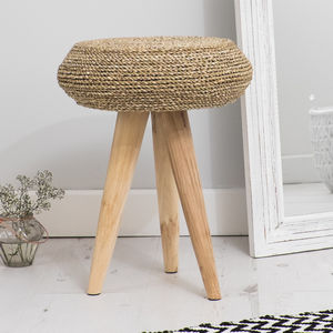 Round Wood And Wicker Bedroom Stool