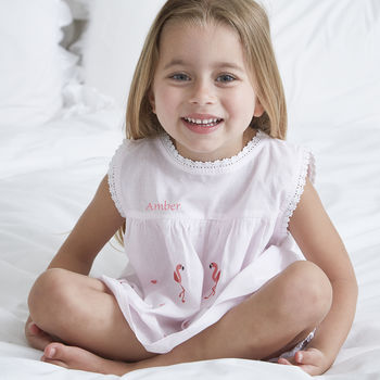 Girl's Personalised Pink Flamingo Cotton Pyjamas