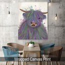 Multicoloured Highland Cow No10, Purple And Green