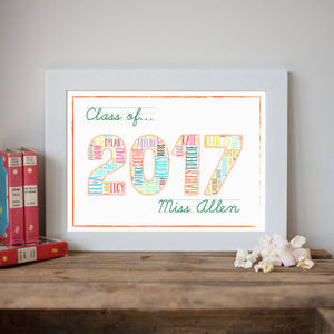 Personalised 'Class Of 2017' Teacher Print - gifts for teachers
