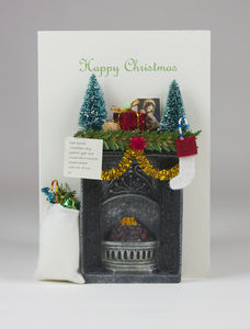 Miniature Christmas Fireplace Scene