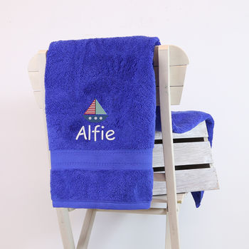 Kids Personalised Sailing Boat Bath Towel