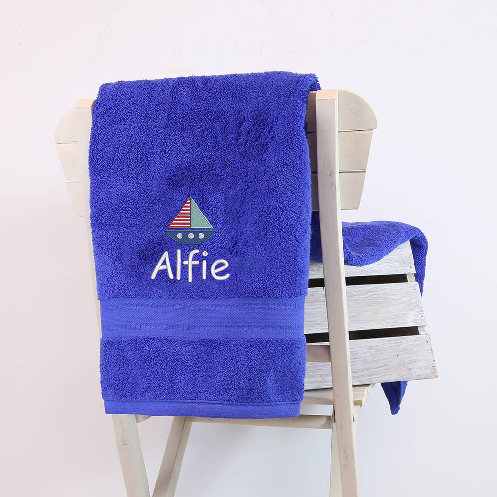 Kids Personalised Sailing Boat Bath Towel By Duncan