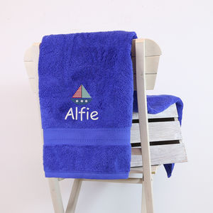 Kids Personalised Sailing Boat Bath Towel - best gifts for children under £25