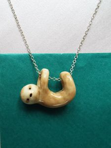 Sloth Porcelain Pendant On 18'' Sterling Silver Chain - necklaces & pendants