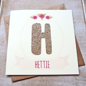 Personalised Rose Gold Glitter Letter Birthday Card - special age birthday cards