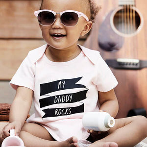 'Daddy/Mummy Rocks' Organic Cotton Babygrow Or Jumpsuit - gifts for fathers