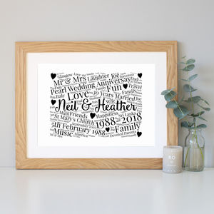 Personalised 30th Anniversary Word Art Gift