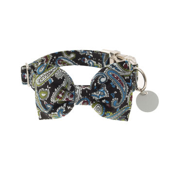 Black And Teal Paisley Bow Tie Dog Collar