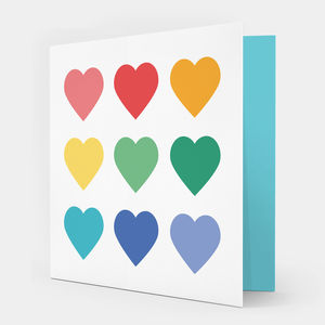 Multicoloured Hearts Greetings Card
