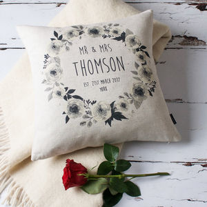 Floral Mr And Mrs Personalised Cushion Cover - engagement gifts