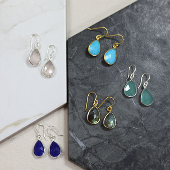 Semi Precious Drop Gemstone Earrings