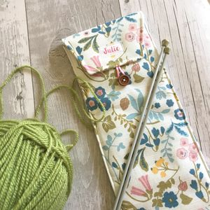 Personalised Floral And Foliage Knitting Needle Case