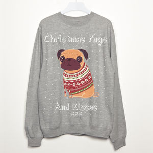 Pugs And Kisses Women's Christmas Sweatshirt - pet-lover