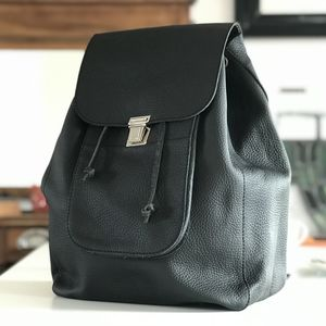 Leather Backpack Black - mens