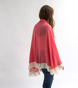 Coral Fringed Scarf - pink accessories
