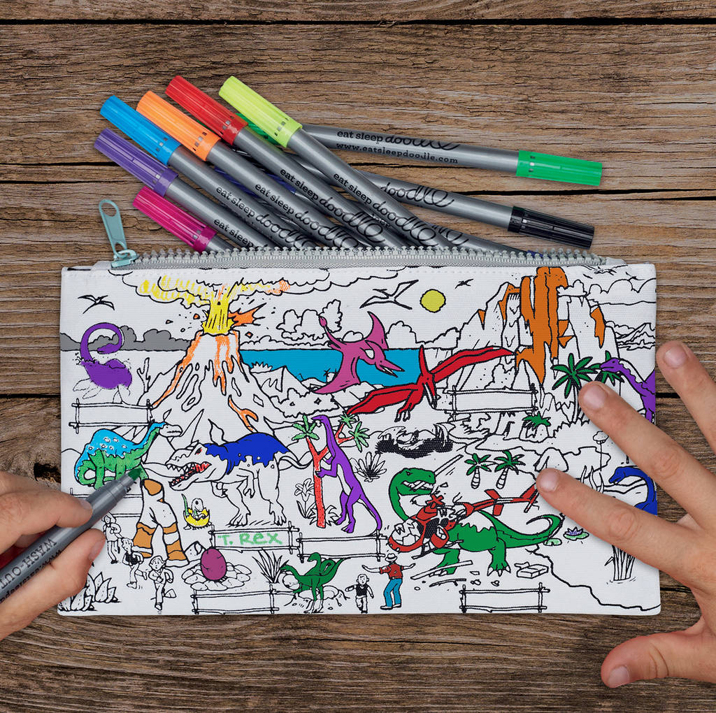 Colour In Dinosaur Pencil Case By Eatsleepdoodle