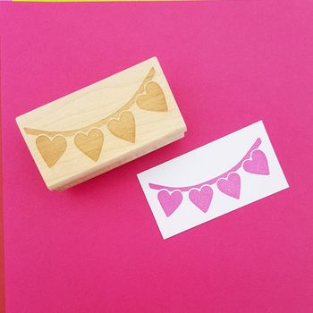 Love Heart Bunting Wedding Rubber Stamp
