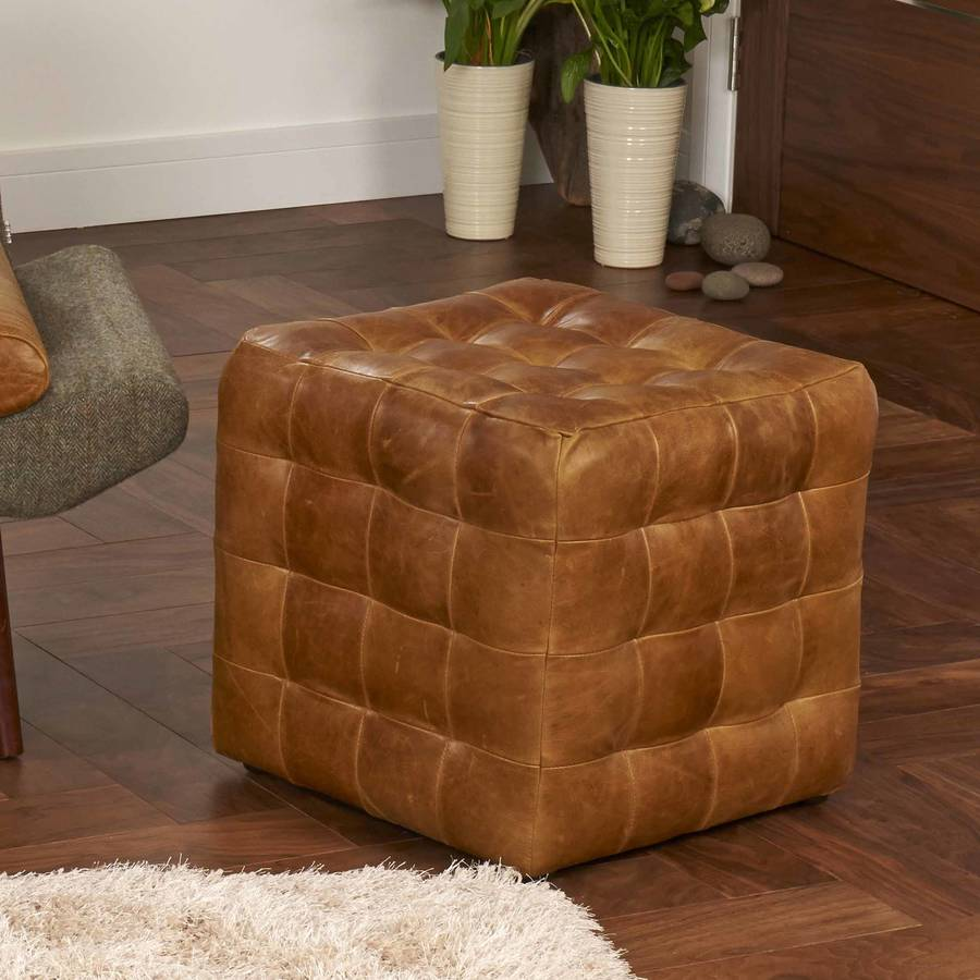 leather cube footstool by the orchard furniture. Black Bedroom Furniture Sets. Home Design Ideas