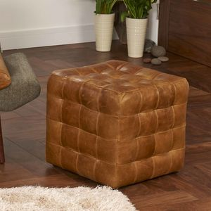 Buttoned Cube Footstool Choice Of Leather Or Tweed - furniture