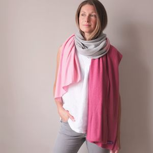 Multi Colour Cashmere Wool Wrap Shawl - keeping cosy