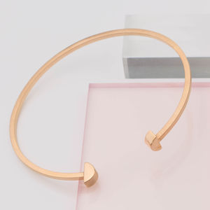 Asymmetric Semi Circle Disc Open Bangle - gifts for her