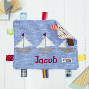 Personalised Boats Baby Comfort Blanket - new baby gifts