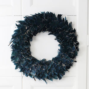 Teal Gold Brushed Feather Wreath - wreaths