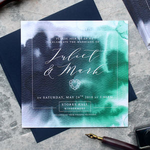 Navy Watercolour Geode Wedding Invitation - enchanted wedding trend