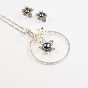 Silver And Pearl Gilia Flower Frame Large Pendant Set - necklaces & pendants