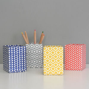 Recycled Geometric Print Pen Pot - stationery-lover