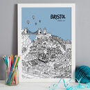 Bristol print in colour 8 Sky Blue, font style 3, A3 size framed in white