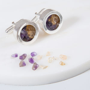 Personalised Mixed Birthstone Cufflinks - cufflinks