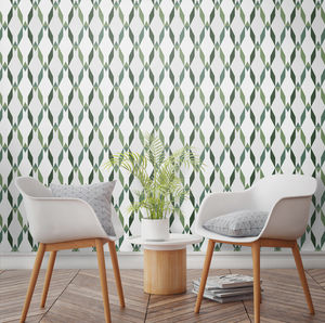 Tropical Trellis Geometric Avocado Wallpaper