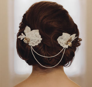 Hand Beaded Lace And Gold Bridal Hair Vine Fern - head pieces