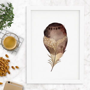 Natural Watercolour Feather Print - winter sale