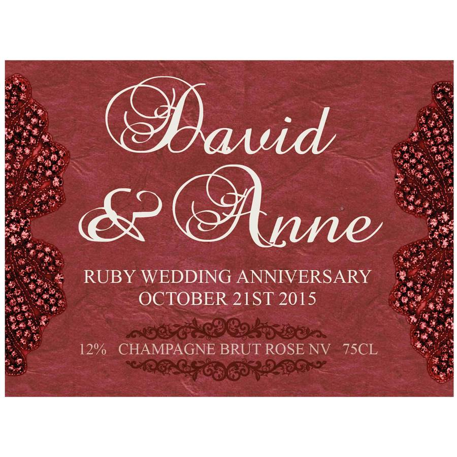 ruby 40th wedding anniversary personalised champagne by bottle ...