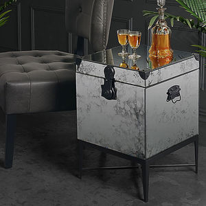 Mirrored Chest Side Table - side tables