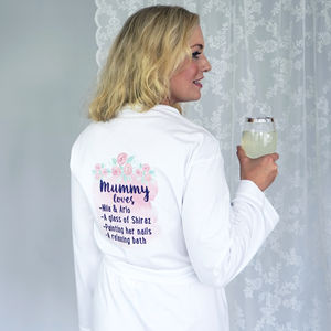 Personalised Mummy Loves Rose Dressing Gown