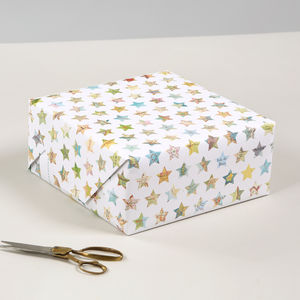 Map Stars Recycled Christmas Gift Wrapping Paper - ribbon & wrap