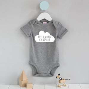 Personalised Hello Cloud Babygrow - gifts for babies