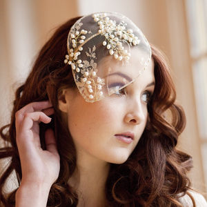 Vintage Lace And Pearl Bridal Cap - bridal hairpieces