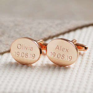 Personalised Rose Gold Cufflinks - men's accessories