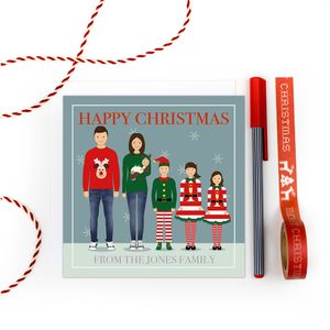 Personalised Family Christmas Cards Pack 'Trad Three' - cards & wrap