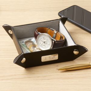 Leather Coin And Accessory Tray - cufflink boxes & coin trays